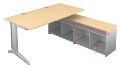 bureau droit 180x80 fusion sur meuble de rangement ouvert pieds c. Black Bedroom Furniture Sets. Home Design Ideas