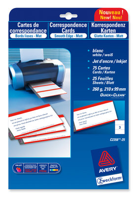 Carte De Visite Quick Clean Avery 220g M Blanc Satine
