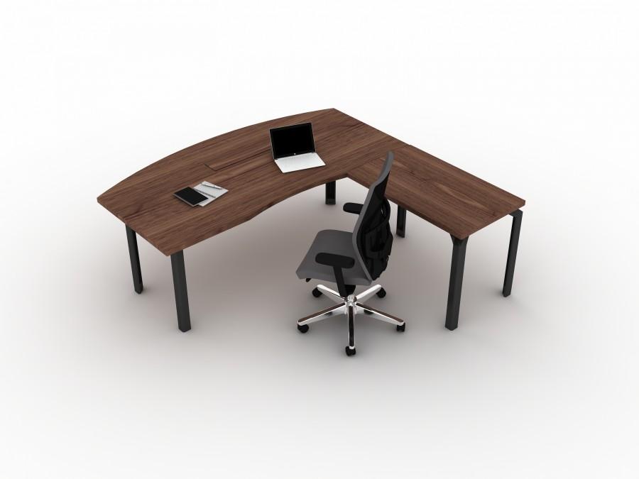 Bureau droit ergonomique placage bois epure manager for Bureau 100x60