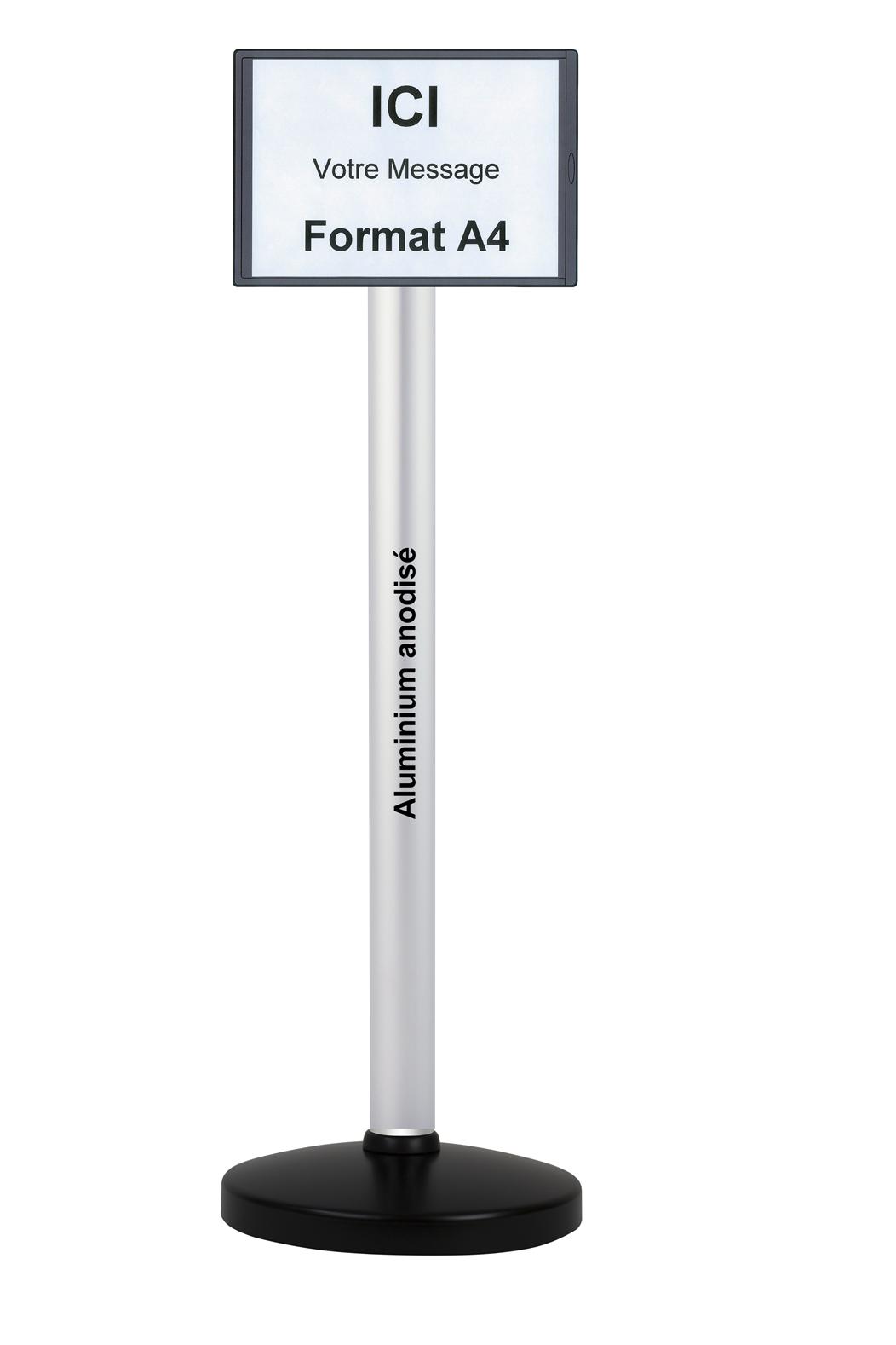 poteau avec panneau d 39 affichage format a4 cadre abs. Black Bedroom Furniture Sets. Home Design Ideas