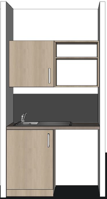 Ensemble Kitchenette Tombelaine L 120 Cm 1 Meuble Haut 1 Meuble Bas 2 Portes 1 Evier