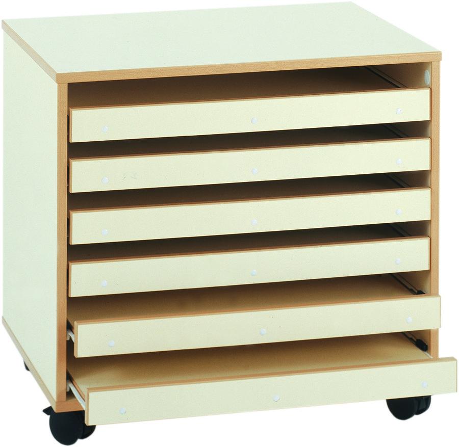 Meuble bas mobile pour papier dessin 6 tiroirs for Meuble a tiroir pour atelier