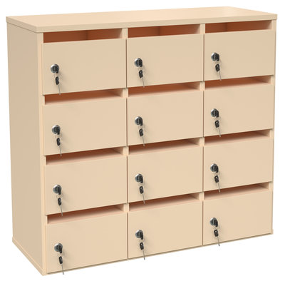 meuble courrier p querette 12 cases fermeture cl beige. Black Bedroom Furniture Sets. Home Design Ideas