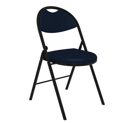 chaise pliante, piétement finition epoxy, tissu noir ou bleu.