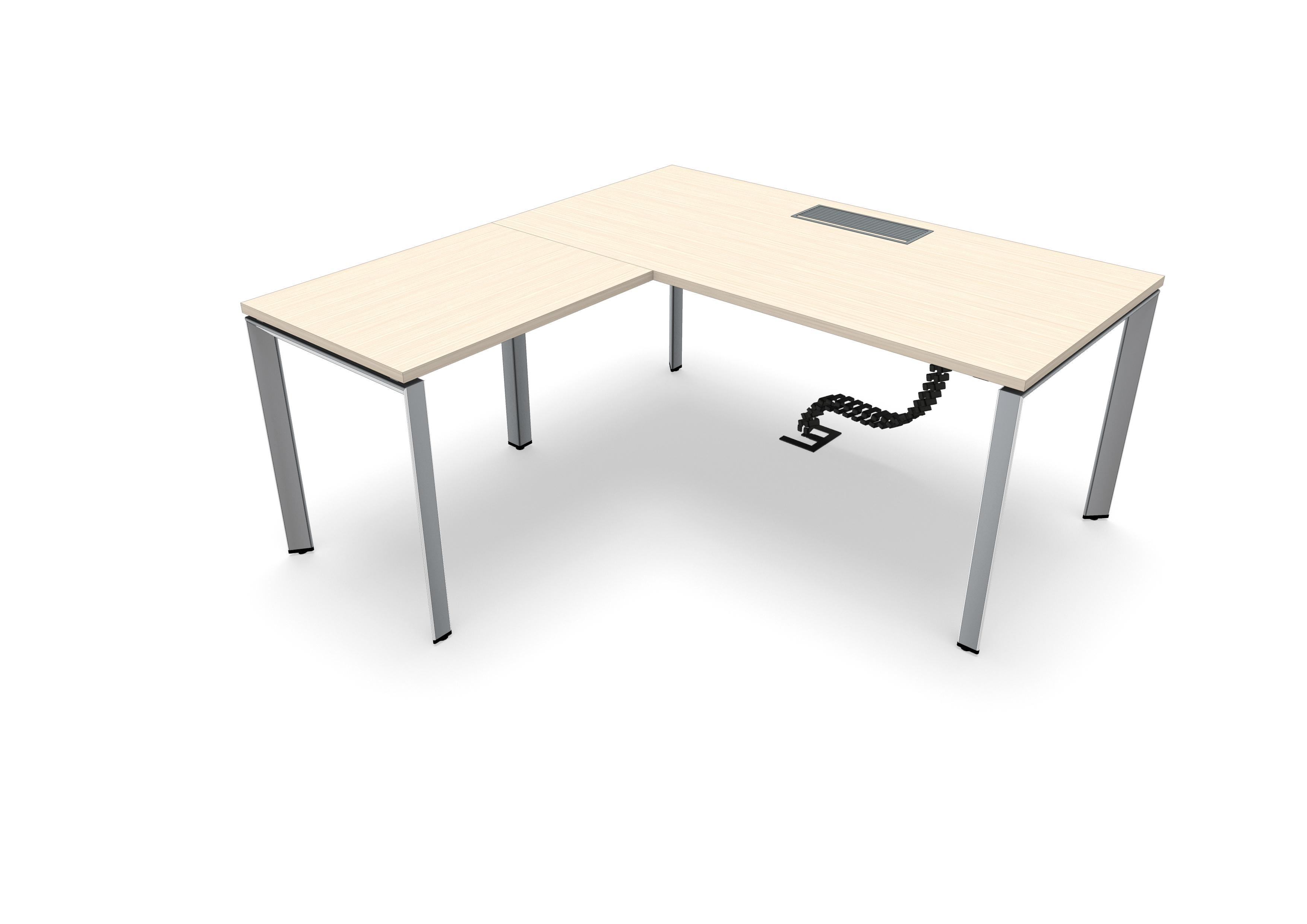 634e563345f65 Bureau droit FrameOne II - l. 160 x pr. 90 cm + retour l. 80 x pr. 60 cm -  top access - piétement arche