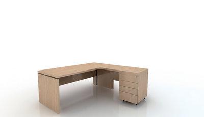 bureau droit amphit o 180x80 avec retour 100x60 sur caisson porteur 4 tiroirs plats. Black Bedroom Furniture Sets. Home Design Ideas