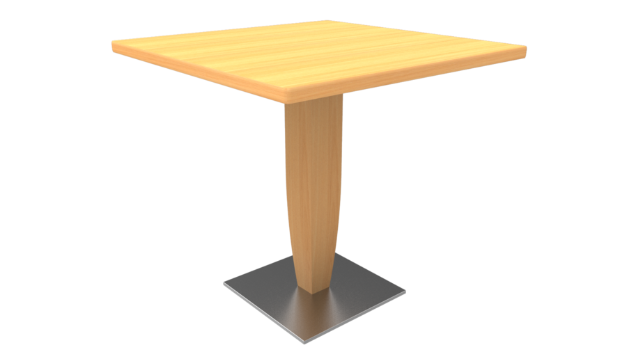 Table maneo 80 x 80 cm pied central h tre vernis naturel for Table 80 x 80