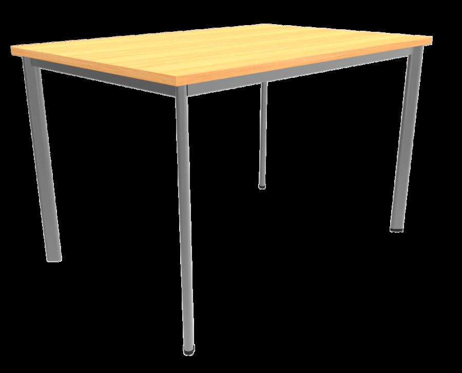 Table dhune 120 x 80 cm 4 pieds m tal chant alais - Pied de table telescopique reglable 80 120 cm ...