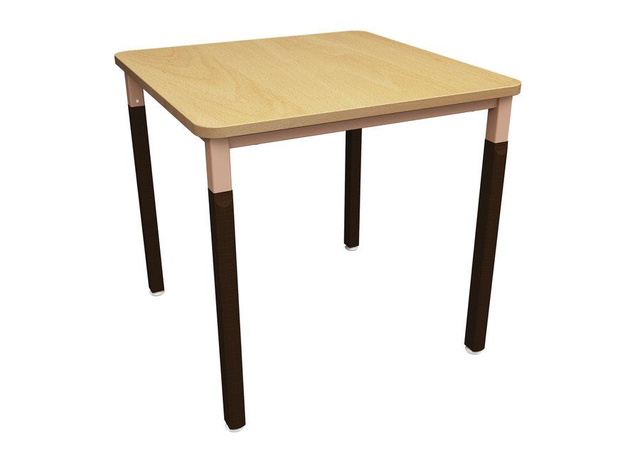 Table noumea 80 x 80 cm 4 pieds bois et m tal vernis for Table 80 x 80