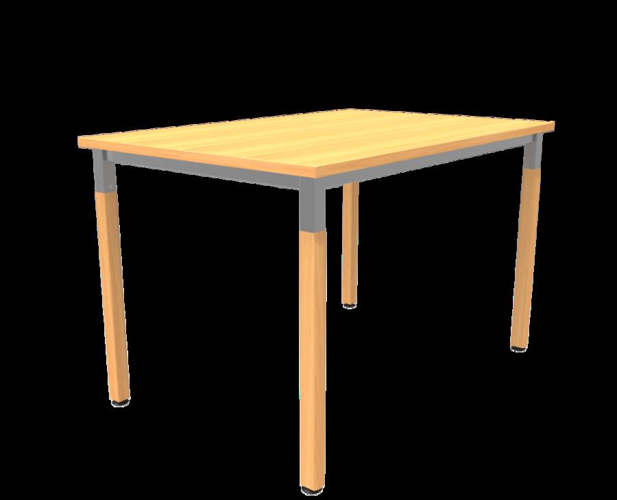 Table noumea 80 x 120 cm 4 pieds bois et m tal vernis - Pied de table telescopique reglable 80 120 cm ...
