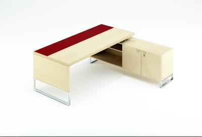 Bureau droit métaphore l. 220 x pr. 90 cm plateau placage bois