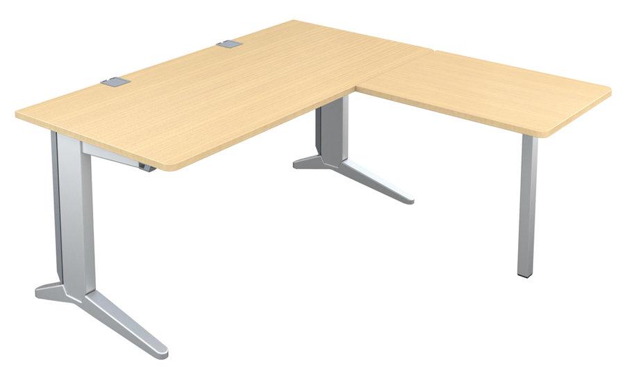 bureau droit fusion 160x80 retour 80x60 pieds c. Black Bedroom Furniture Sets. Home Design Ideas