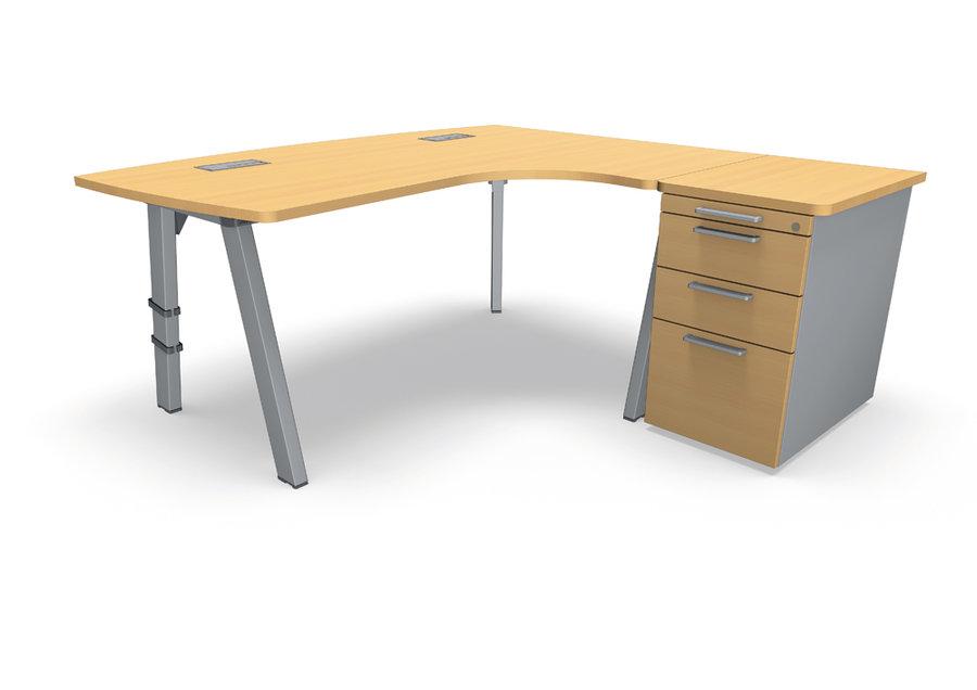 bureau ergonomique compact 90 asym trique fusion 170x120x80x66 caisson sur retour m lamin. Black Bedroom Furniture Sets. Home Design Ideas