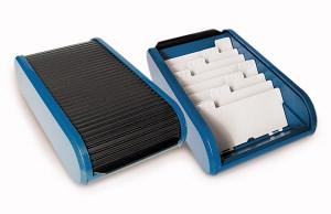Boite De Rangement Pour Cartes Visite Rotilabo Plastique Noir Bleu
