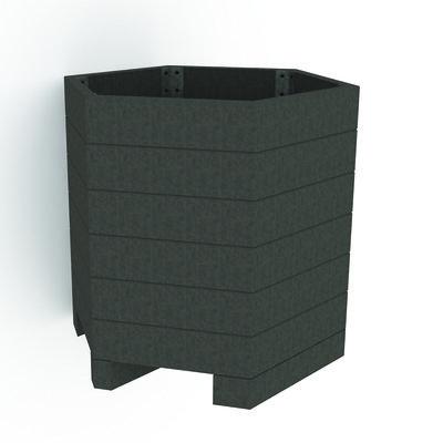 Jardinière hexagonale Caractère plastique recyclé - Ø 100 x h. 93 cm -  déchargé sous abri
