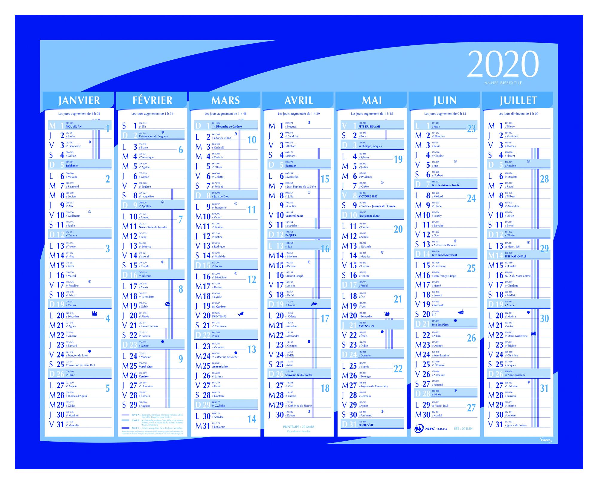 Calendrier 2020 Semestriel.Calendrier Semestriel Petit Modele Lyreco 33x42