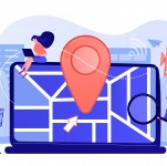 Digital GPS application for smartphones. Geotag sign on city map. Local search optimization, search engine targeting, local SEO strategy concept. Pink coral blue vector isolated illustration